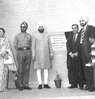 Gyani Zail Singh Inaugurating Pavate Hall