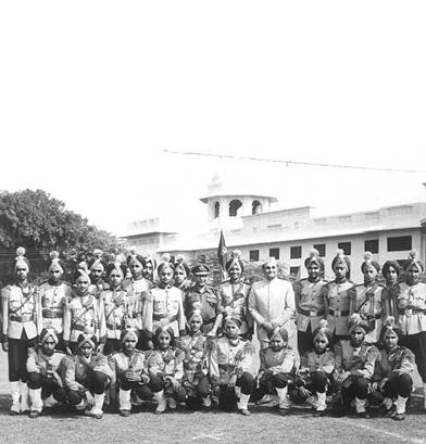 Maharaja Karan Singh with the School Band