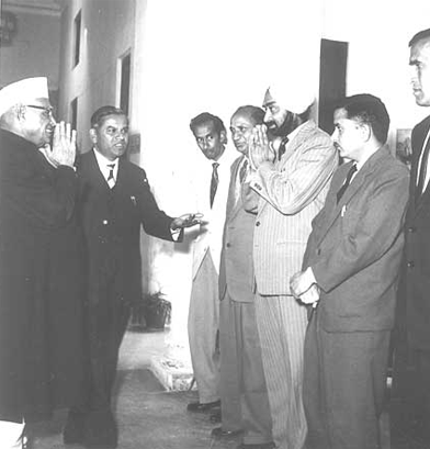 Shri NV Gadgil being introduced to Mr. Mr. Punia, Mr. PN Mathu by Mr. Kate
