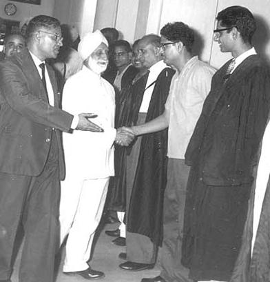 Mr. JK Kate introducing Shri Hukam Singh, Speaker of Lok Sabha, to Mr. KC Tandon, Mr. Sibbal, Mr. PN Mathu